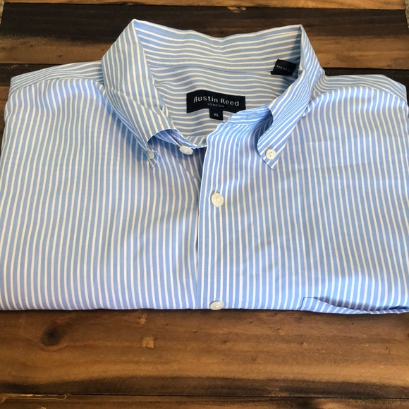 Austin Reed Shirts Austin Reed Button Dress Shirt Blue White Stripe Poshmark